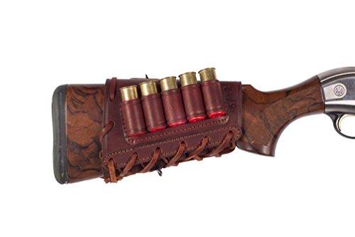 VlaMiTex J16 Soporte para Cartuchos de Escopeta de Rifle, 16 Calibre, de Cuero, marrón Rojizo