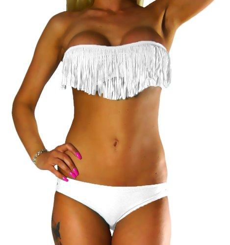 ALZORA Bikini Damen Tassel Fringe Push Up Set Top und Hose, 10200 (L, Weiss)