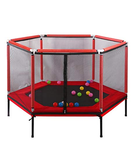 5ft Kids Trampoline with Safety Enclosure Net, Outdoor Jumper Trampolines for Family Entertainment, Ball Pool Mini Trampoline 220Lbs (Red)