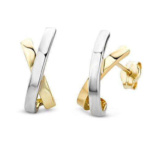 Miore Pendientes Mujer Bicolor -Oro Amarillo y Oro Blanco 14 Kt / 585