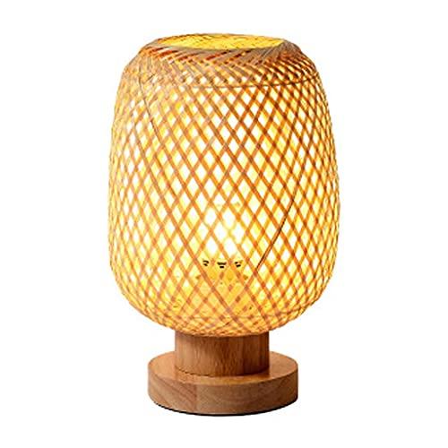 Lámpara de mesa con madera maciza, lámpara de mesa redonda de noche, mesa de comedor minimalista Luz de mesita de noche a mano con ratán, lámpara de mesa decorativa para dormitorio oficina de sala de