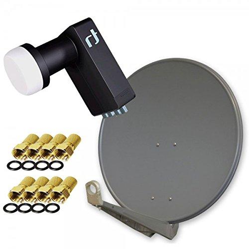 Antenne PremiumX DELUXE80 Aluminium 80cm Digital SAT Schüssel Spiegel in Anthrazit + LNB Quad 0,2 dB Inverto Black Ultra High-Gain SAT LNB 72 dB FULLHD 3D HD+ Digital Tauglich + GRATIS 8x F-Stecker 7mm in Farbe 'GOLD'