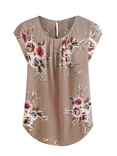 Milumia Women's Elegant Floral Print Petal Cap Sleeve Pleated Vacation Office Work Blouse Top Camel Small