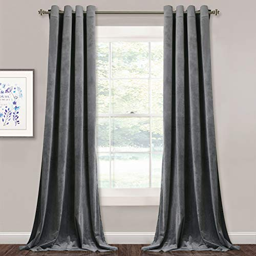 StangH Gray Velvet Curtains 84-inch - Elegant Home Decor Room Darkening Velvet Drapes Heat Insulated Window Shade Panels for Living Room/Office, Grey, W52 by L84 inches, 2 Panels