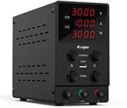Kungber DC Power Supply Variable, 30V 10A Adjustable Switching Regulated DC Bench Linear Power Supply with 4-Digits LED Power Display 5V2A USB Output, Coarse and Fine Adjustments with Alligator Leads