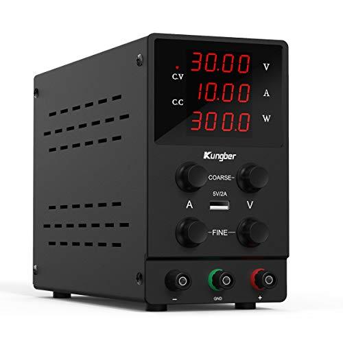 Kungber Labornetzgerät 0-30V / 0-10A, DC Regelbar Netzgerät mit 4-stelliger LED-Anzeige, Labornetzteil Netzteil Strommessgeräte, Überlast- & Kurzschlussfest (Schwarz- 30V / 10A)