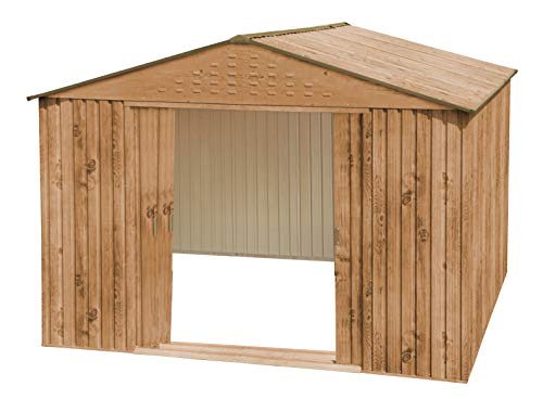 Duramax 10X10 Caseta metálica jardín Ares. Medidas 293x321x210 cm. Superficie 9,43 m2, Imitación Madera