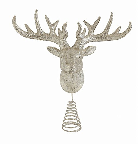 Creative Co-op Sparkling Deer Head Tree Topper