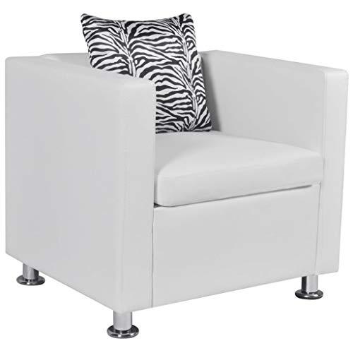 Tidyard Butaca de Salón,Sillón de Relax en Forma de Cubo para Dormitorio Salón o Sala de Estar,Tapicería de Cuero Artificial,70x62,5x63cm Blanco