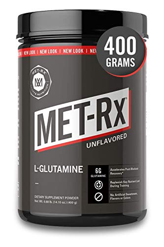 MET-Rx L-Glutamine Powder, 400 g, Post-Workout Amino Acid Nutritional Supplement, Add to Workout Recovery Protein Shakes & Nutritional Shakes