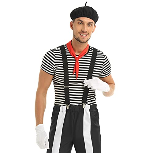 inhzoy Disfraz de Mimo para Mujer Hombre Traje Francs Mime Artist Cosplay Circo Camiseta con Accesorios Traje Actuacin Disfraces Halloween Fiesta Hombre XXL