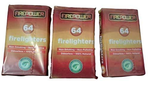 Natuurlijke eco hout brandweerlieden Fire starter voor houtskool BBQ's Pizza oven rokers kampvuren open haarden houtkachels. Bevat 3 verpakkingen van 64 =192 brandweerlieden. Uitstekende prijs-kwaliteitsverhouding.