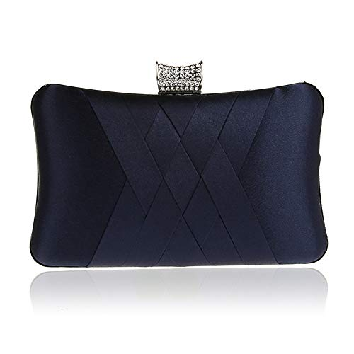 DA BODAN Mode Damen Jane Satin Diamante Clutch Strass Abend Braut Prom Party Handtasche Crossbody Handtasche Kette Tasche (Dunkelblau)