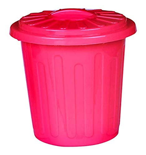 Plastic Trash Can Container   Red   Party Accessory