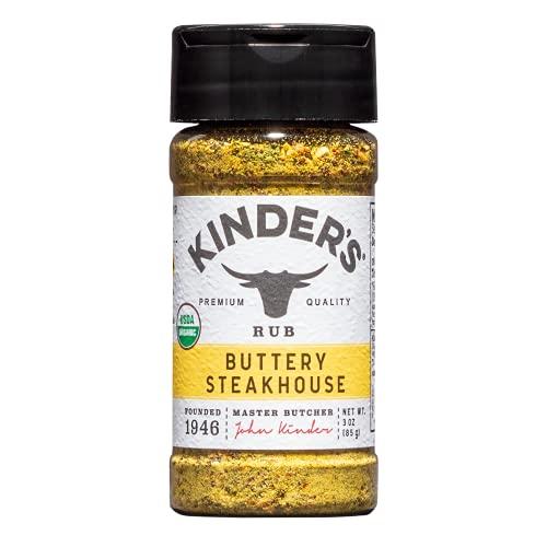 Kinder's Organic Buttery Steakhouse Rub, Premium Quality Gluten Free, Kosher, MSG Free and USDA Certified Organic Seasoning, 3oz