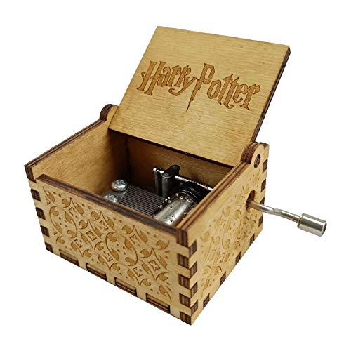 VETIN Hölzerne Spieluhr Geschenk mit Handkurbel, Spieluhren Antike Geschnitzte Musik Box Holz für Geburtstag Weihnachten Valentinstag und für Kinder, Ehefrau, Freunde, Holzfarbe