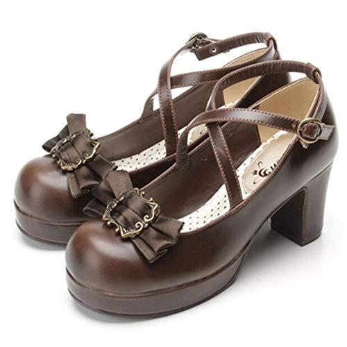 HHXXTTXS Zapatos de Punta Redonda para Mujer Bombas Dulces con Nudo de Mariposa Zapatos de Fiesta para Mujer Lolita Hebilla de tacón Cuadrado Zapatos de Plataforma para Mujer