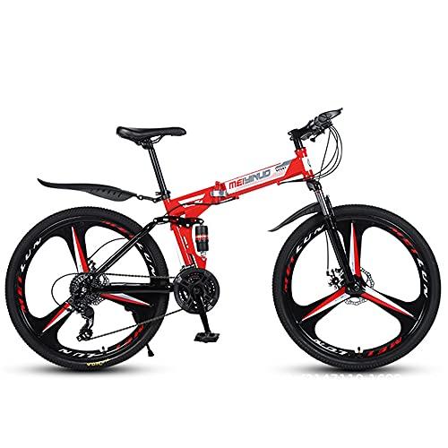 Mountain Bike Pieghevole, Telaio in Acciaio ad Alto tenore di Carbonio, 26', Bicicletta Fuoristrada 24-27 velocità, Ruota a 3 Razze, Bicicletta MTB con Doppia Sospensione Freno a Doppio Disco