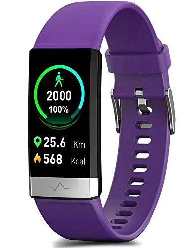 MorePro Monitor de frecuencia cardíaca Monitor de presión arterial Fitness Tracker con recordatorio de bajo O2, IP68 impermeable reloj inteligente con HRV Sleep Health Monitor Smartwatch para teléfonos Android iOS (negro)