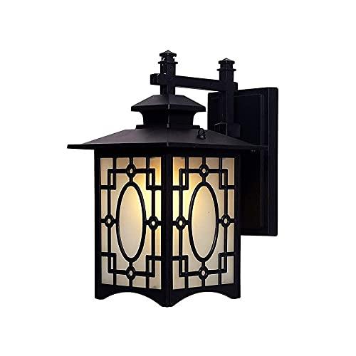 LGOO1 Lámpara de Pared Exterior con diseño Vintage, lámpara de Pared de Estilo rústico Americano, lámpara de Pared de Aluminio para Valla, Paisaje, Aplique de Pared E27, Acabado Negro, jardín, Villa,