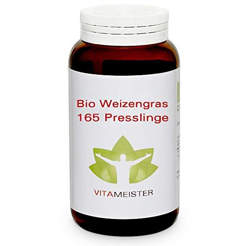 vitameister BIO Weizengras Presslinge, 165 Tabletten im Braunglas, Rohkostqualität, deutsche Fertigung