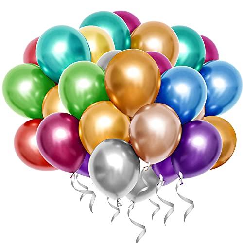 QMEEFB Luftballons Helium Ballons Luftballons Geburtstag Luftballons Hochzeit Hochzeitsballons für Geburtstag Hochzeit Babyparty Valentinstag Silvester Deko 50 Stück (Mehrfarbig)