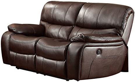 Best Homelegance Pecos Leather Gel Power Double Reclining Loveseat, Brown