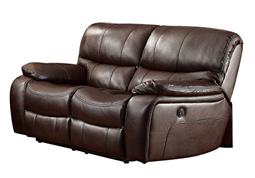 Homelegance Pecos Leather Gel Power Double Reclining Loveseat, Brown