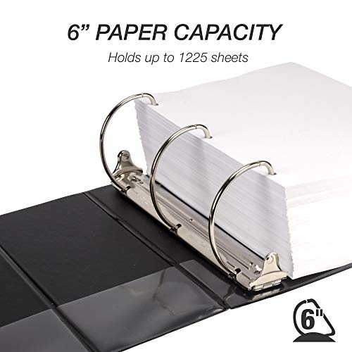 Samsill Durable 6 Inch Binder Black D Ring Binder/Customizable Clear View Binder/Bulk Binder 2 Pack/Black 3 Ring Binder 6 inch (MP26420) Photo #4