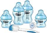 Easy Starter Kit azul para iniciar biberón de bebé, tetinas tipo pecho con válvula anti-cólico, cierre fácil para bebés, sin BPA, no tóxico de 0 a 18 meses