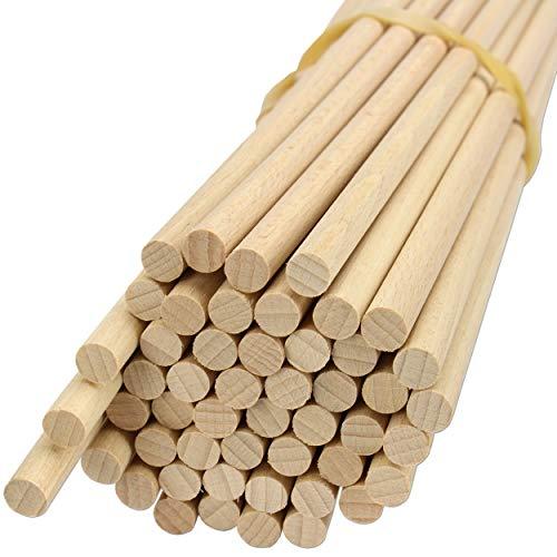 trendmarkt24 Holzstäbe Set rund 50 Stück aus Buche Rundholzstäbe ca. 50 cm / 500mm lang ca. 8mm stark Bastelhölzer Holzstäbchen Blumenstecker | 1805050