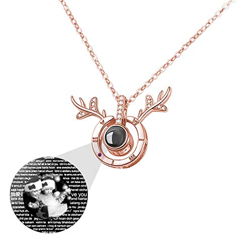 Personalized Photo Necklace Customized Woman Necklace with Picture 100 Languages Necklace Projection Necklace Sterling Silver Necklace Christmas Birthday Gift for Woman(Rose Gold Black and White 22)