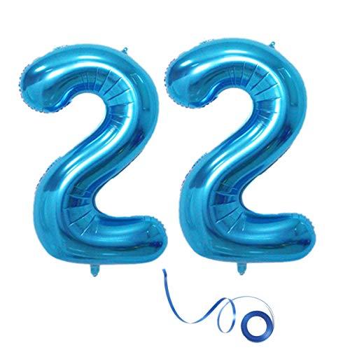 Party Folienballon Zahl 22 Blau Helium Luftballon Nummer 22 Geburtstag Nummer 22 Geburtstag Party Dekoration Luftballon Geburtstag XXL Folienballon 40