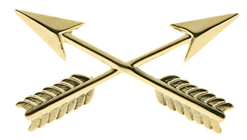 Sujak Military Items Crossed Arrows Archery Gold Plated 1 1/4 inch hat Lapel pin HON14555