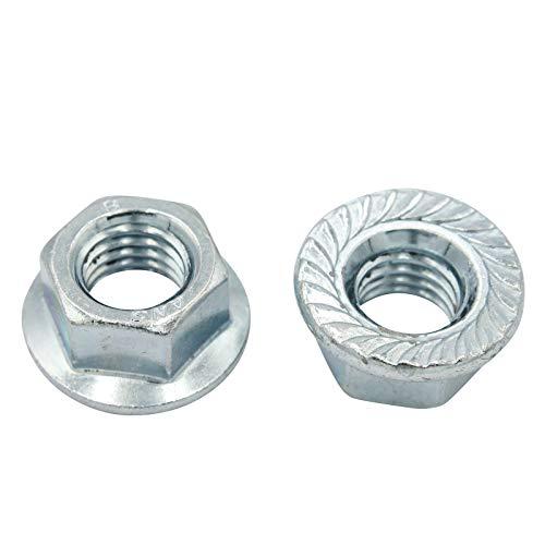 D2D | VPE: 10 Stück - Flanschmuttern mit Sperrverzahnung - Größe: M8 - nach DIN 6923 / ISO 1661 aus Stahl galvanisch verzinkt | Bundmuttern