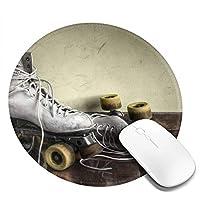 丸型マウスパッド ゲーミングマウスパッド ローラースケートプリント おしゃれ オフィス自宅兼用 滑り止めゴム底 耐洗い表面 厚地 精密度アップ 光学式マウス対応 20*20cm 厚さ3mm
