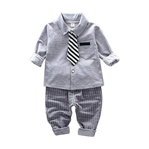 Gyratedream Jungen Kleidung Sets 1-5 Jahre Kinder Fliege Shirts Langarmshirts + Lange Hosen Plaid Hose 2Pcs Lässige Outfits Bekleidung