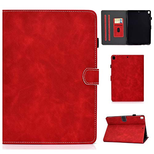Folio Case for iPad Air 3rd Gen 10.5' 2019 iPad Pro 10.5' 2018 Cover Slim Fit Multi Angle Stand Smart Shell Auto Sleep Wake Protective Wallet Case with Pencil Holder (Red)