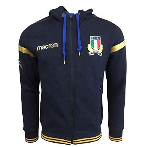 Macron Felpa Junior Italia Rugby Fir - Italy Sweatshirt Cotton Junior (Junior S (3XS)