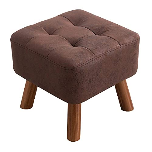 ZAIHW Taburete para sofá de madera con soporte cuadrado de madera tapizado, 4 patas (color marrón oscuro)
