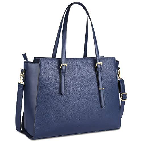 NEWHEY Handtasche Damen Shopper Damen Große Blau Gross Laptop Tasche 15.6 Zoll Elegant Leder Umhängetasche für Büro Arbeit Business Schule