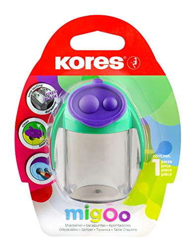 Kores Taille-crayons double MigOo avec conteneur, Emballage blister 35828