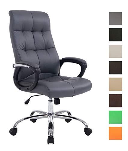 CLP XXL Bürostuhl Poseidon mit Kunstlederbezug | Höhenverstellbarer Drehstuhl mit Laufrollen | Chefsessel mit max.Tragkraft bis zu 160 kg, Farbe:grau