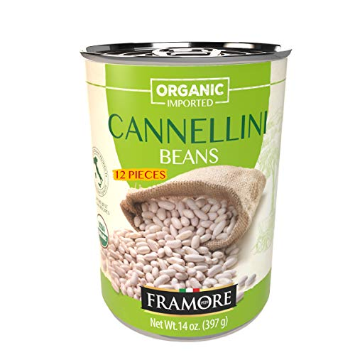 FRAMORE Imported Authentic Italian Organic Canned Cannellini White Kidney Beans, Traditional Gourmet Legumes, Ready to Eat, Preserved in Water