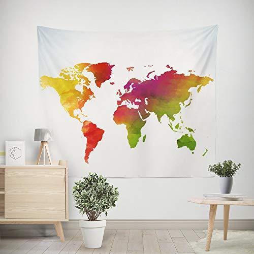 nobranded Tapiz del Mapa del Mundo Vintage Tapiz de Pared América África Japón Tapices Tapiz de Pared Decoración Dormitorio Salón Dormitorio