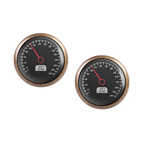 Studs par con motivo Tacho metros kmh km/h instrumento de carbono pantalla bronce 12mm