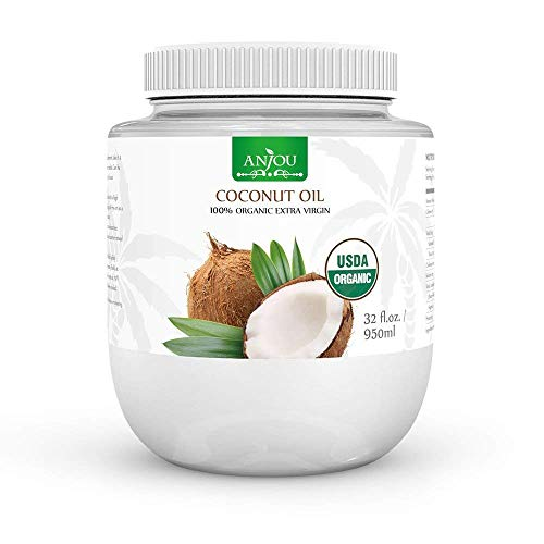 Coconut Oil 32 oz, Anjou Organic Extra Virgin, Gluten Free, Cold Pressed Unrefined Coconut oil for Hair, Skin, Cooking, Health, Beauty, USDA Certified, BPA Free Plastic Jar