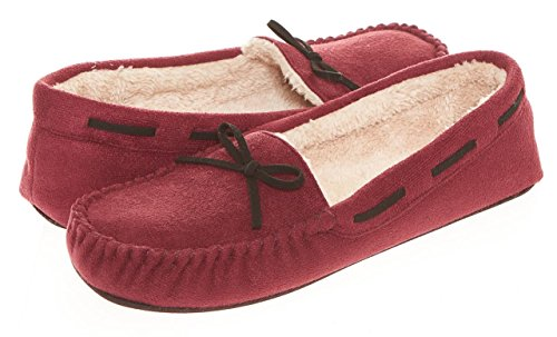 Seranoma Women's Slip-On Faux Fur Lined Flats Moccasin Slipper Burgundy
