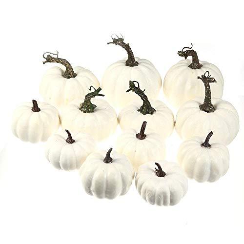 Volwco 12 Stück Weiße Künstliche Kürbisse Sortierte Größen Schaum Kürbis Dekor und DIY Oberflächenerstellung für Hochzeit Halloween Weihnachten Festival Party und Haus Dekoration
