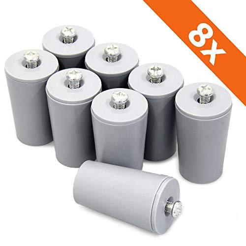 ECENCE Anschlagpuffer Stopper für Rollladen, 8er Set 40mm inkl. Schraube Grau, Endanschlag, Rollladen Schutz komplett